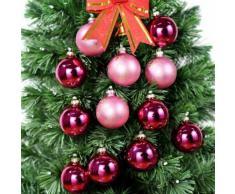 Verre Rose boules en verre peint à la main pour cadeau de Noël 12 boules suspendues parfait pour la décoration de sapin de Noël - Objet à poser