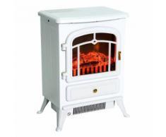 Cheminée électrique poêle style rétro thermostat 900-1800 W blanc - Cheminées, poêles