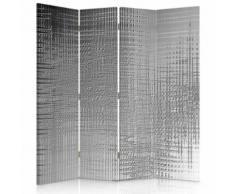 Feeby Paravent imprimé Séparateur de pièce 2 faces 4 panneaux, Imitation métal 145x180 cm - Objet à poser