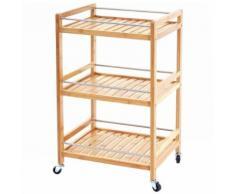 Chariot roulant HWC-D91, étagère à roulettes, bibliothèque, desserte, 3 niveaux, bambou 76x46x38cm - Dessertes de rangement