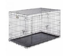 Ferplast Cage de transport pliable pour chiens DOG-INN 120, enclos pour chiots, transport en métal séparation inclus, porte double avec fermeture de sécurité, 123,8 x 76,2 x h 81,2 cm Noir - Paniers et mobilier pour chien