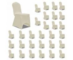 vidaXL Housses élastiques de chaise Crème 30 pcs - Textile séjour