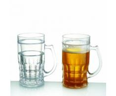 Mug rafraichissant pour bière 400 ml verre double paroi réfrigérant or - Verrerie
