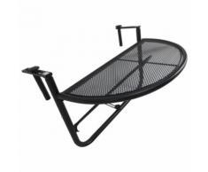 Table suspendue pour balcon dim. 60L x 45l cm hauteur réglable 3 niveaux métal époxy noir - Mobilier de Jardin