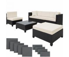 TecTake Salon bas de jardin AMY 5 places avec 2 sets de housses - noir - Mobilier de Jardin