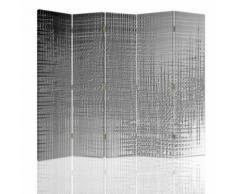 Feeby Cloison amovible Paravent intérieur, une face 5 panneaux, Imitation métal 180x180 cm - Objet à poser