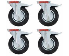vidaXL 16x Roulettes Roues Fixes pour Chariot Roulant Roulettes Pivotantes Roulettes Fixes Panier d'Achat Etagère à Livre Tables de Travail Capacité de 70 kg 100 mm - Accessoires pour meubles