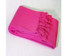 Jete de canape a franges 180 x 220 cm coton tisse lana Fuchsia - Rideaux et stores