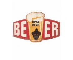 Décapsuleur verre de bière vintage mural en bois - 30 cm - Décoration murale