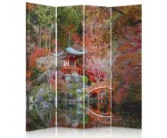 Feeby Paravent imprimé 4 pans rotatif Cloison de séparation déco, Jardin japonais 145x180 cm - Objet à poser