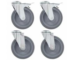 vidaXL 32x Roulettes Pivotantes Roues Fixes pour Etabli Meuble Chariot Roulant Tables de Travail Etagère à Livre Capacité de 35 kg 50 mm - Accessoires pour meubles