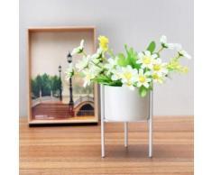 TEMPSA Blanc Grille Supporter + Céramique Fleur Plante Succulent Pot Jardin Afficher Titulaire Décor Bassin bas - Jardinières et bacs