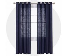Deconovo Lot de 2 Rideaux Salon Design Moderne avec Oeillets Effet Lin Rideau Chambre Fille Bleu Marine 132x183 - Rideaux et stores