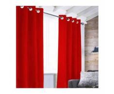 Rideau Velvet a oeillets - 140 x 250 cm - Rouge - Rideaux et stores