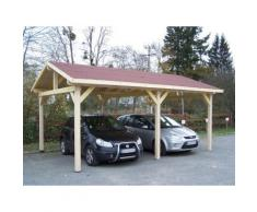 Habrita - Carport Double Avec Couverture Bardeau Bitumé - Mobilier de Jardin