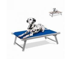 Lit pour chien aluminium niche animaux transat DOGGY, Couleur: Bleu - Mobilier de Jardin