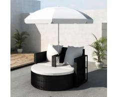 Casasmart - Canapé rond noir 2 places avec parasol inclus - Mobilier de Jardin