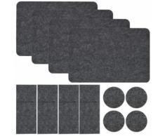 Set de Table en Feutre pour 4 Sac à Couverts Sous-verre 43 x 30 cm Napperon Gris - Boite de rangement