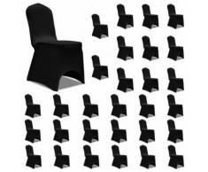 vidaXL Housses élastiques de chaise Noir 30 pcs - Textile séjour