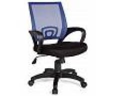 VIVENLA Chaise de bureau pivotante en tissu maille coloris noir et bleu L. 57 x H. 88 - 97 x P. 50 cm collection Nurnberg