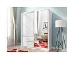 Vente-unique.com Armoire SISKO - 1 porte coulissante & 2 tiroirs - Avec Miroir - L154cm - Blanc