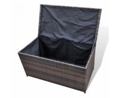 vidaXL Coffre de rangement en résine tressée brun 116 x 60 cm