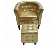 vidaXL Fauteuil Chesterfield or avec repose pied