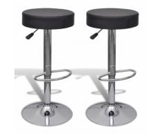 vidaXL 2 tabourets de bar noirs ronds en cuir artificiel
