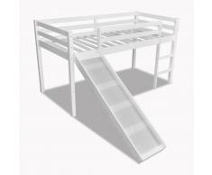 vidaXL Lit mezzanine avec toboggan et échelle en bois Blanc