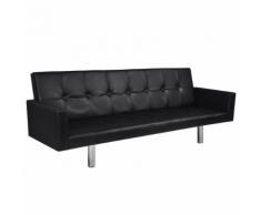 vidaXL Canapé lit en cuir artificiel noir avec accoudoirs