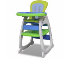 vidaXL Chaise haute convertible 3 en 1 bleu/vert