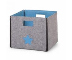 CHILDWOOD Boîte de rangement pliable Étoile Gris et turquoise CCFSBST