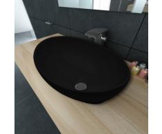 vidaXL Luxueuse Vasque à poser en céramique Ovale Noire 40 x 33 cm