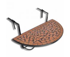 vidaXL Table de balcon suspendue Demi-circulaire Terre cuite