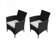 vidaXL ensemble chaise de jardin en poly rotin 2 pcs noir