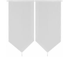 vidaXL 2 Rideaux de cuisine en lin pastiche 60 x 160 cm Blanc