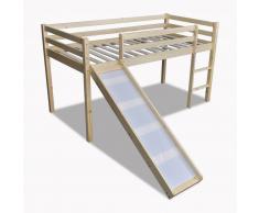 vidaXL Lit mezzanine avec échelle toboggan en bois naturel