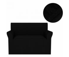 vidaXL Housse de canapé extensible Larges rayures Noir
