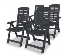 vidaXL Chaise inclinable de jardin 4 pcs Plastique Anthracite