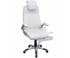 vidaXL Chaise pivotante réglable avec accoudoir en cuir artificiel Blanc