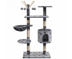 vidaXL Arbre à chat et griffoir Sisal 125 cm Empreintes de pattes Gris