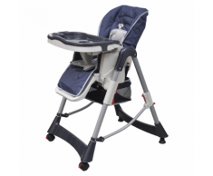 vidaXL Chaise haute Deluxe et Réhausseur bébé couleur Bleu foncé