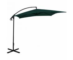 vidaXL parapluie en porte-à-faux banane vert 2,5x2,5 m