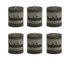 Bolsius Lot de 6 bougies 80 x 68 mm gris fumé