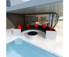 vidaXL Salon de jardin demi-rond en polyrotin blanc