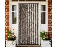 vidaXL Rideau de porte chenille brun et beige 100 x 220 cm