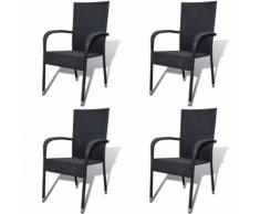 vidaXL Chaise de jardin 4 pcs Rotin synthétique Noir