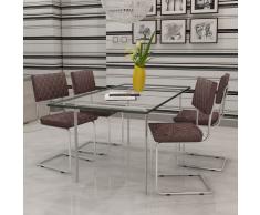 vidaXL 4 pcs Chaise de salle à manger en similicuir Brun