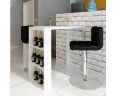 vidaXL Table de bar MDF avec casier à bouteilles Blanc haut brillance