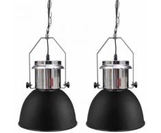 vidaXL Plafonnier moderne en métal noir 2 pièces